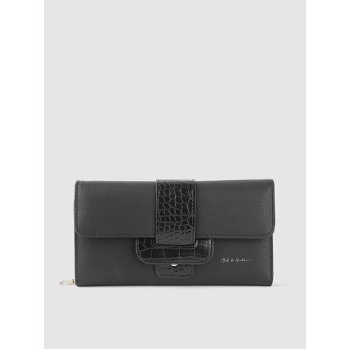 Mast & Harbour Women Black Solid Three Fold Wallet