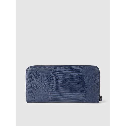 DressBerry Women Navy Blue Textured Zip Around Wallet