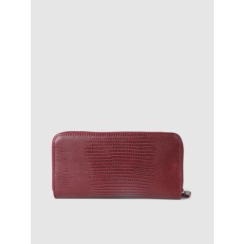 DressBerry Women Burgundy Textured Zip Around Wallet