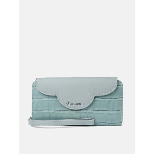 DressBerry Women Blue Animal Textured Two Fold Wallet