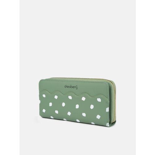 DressBerry Women Green Printed Zip Around Wallet