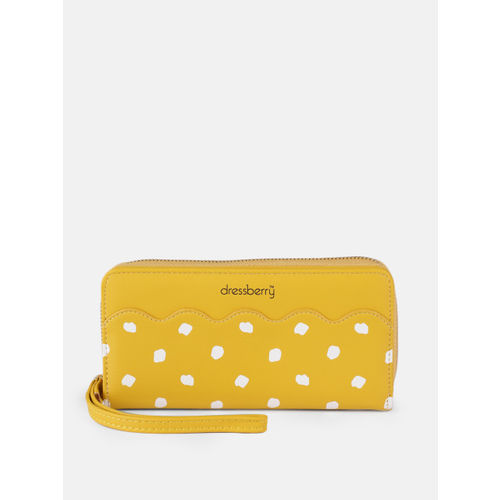 DressBerry Women & White Yellow Printed Zip Around Wallet