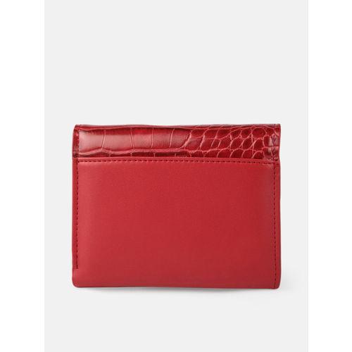 Mast & Harbour Women Red Croc Textured Three Fold Wallet