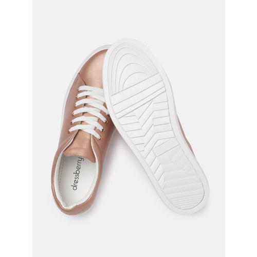 DressBerry Women Rose Gold Sneakers