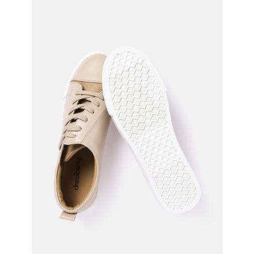 DressBerry Women Beige Sneakers