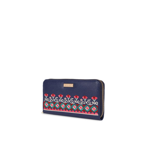 Chumbak Women Navy Blue Solid Zip Around Wallet