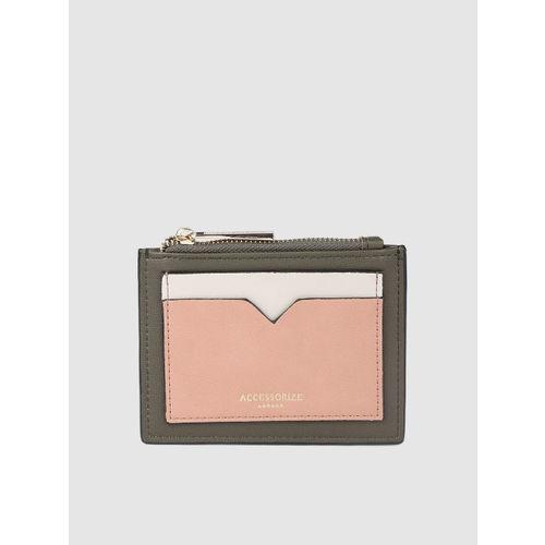 Accessorize Women Olive Green & Peach-Coloured Colourblocked Card Holder