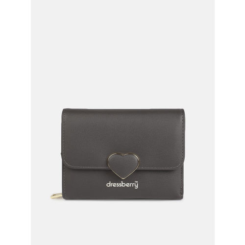 DressBerry Women Grey Solid Three Fold Wallet