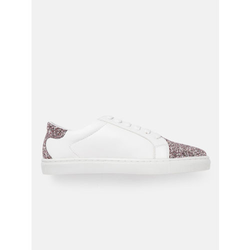 Carlton London Women White & Rose-Gold-Toned Shimmer Sneakers