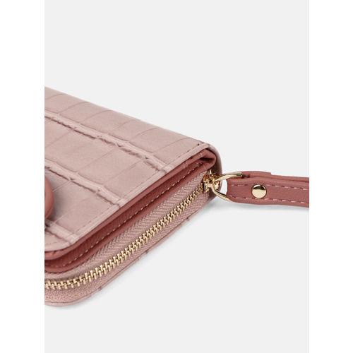 DressBerry Women Pink Textured Zip Around Wallet
