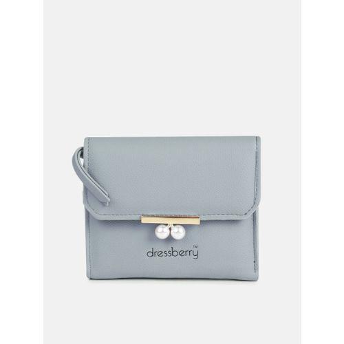DressBerry Women Blue Solid Three Fold Wallet