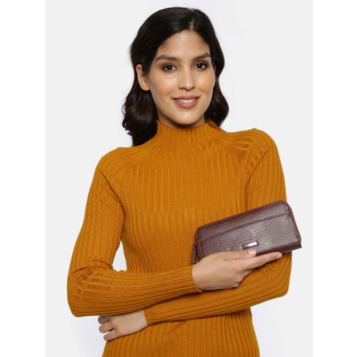 DressBerry Women Brown Textured Zip Around Wallet