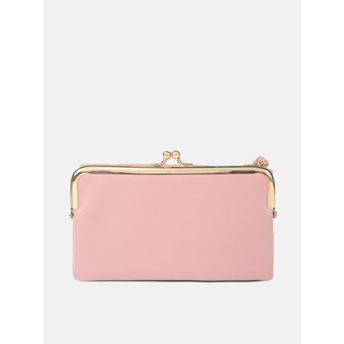 DressBerry Women Pink Solid Zip Around Wallet