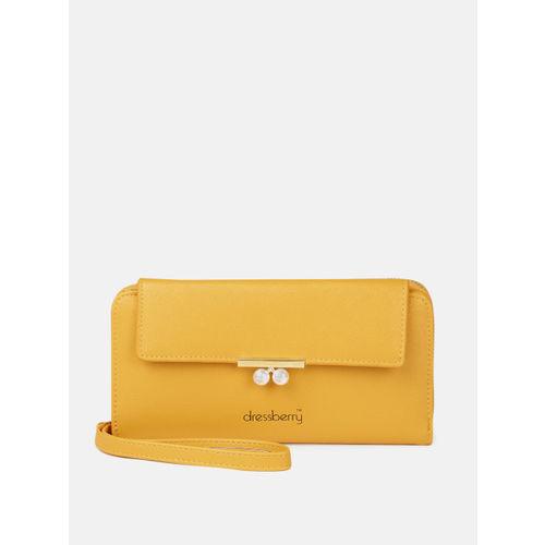 DressBerry Women Mustard Yellow Solid Zip Around Wallet