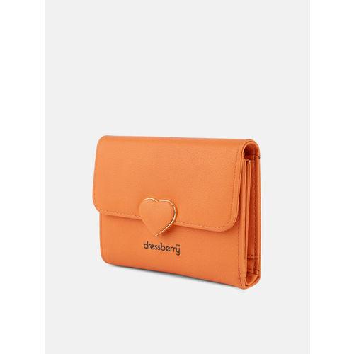 DressBerry Women Orange Solid Three Fold Wallet