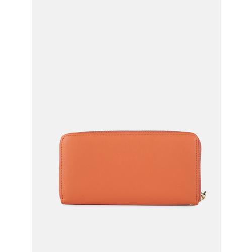 DressBerry Women Orange Solid Zip Around Wallet