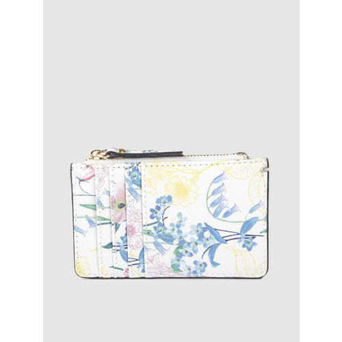 Accessorize Women White & Navy Blue Printed Card Holder