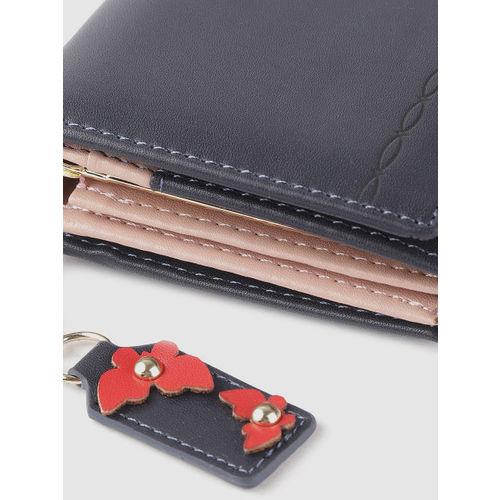 DressBerry Women Navy Blue Solid Two Fold Wallet