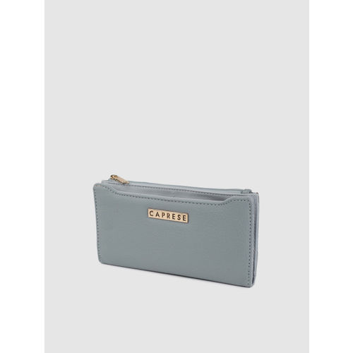 Caprese Women Blue Solid Two Fold Wallet
