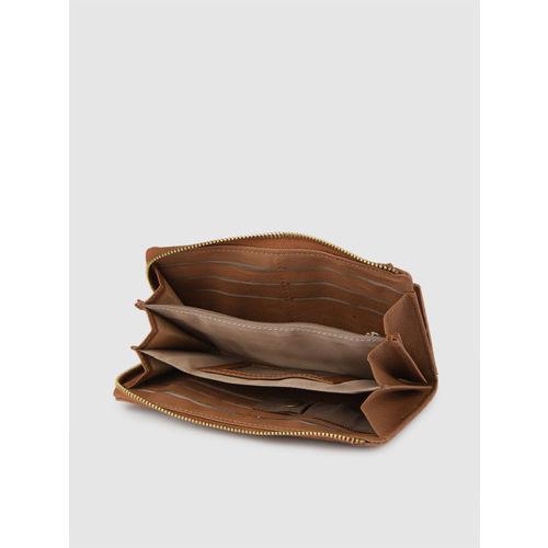 Baggit Women Tan-Brown Solid Zip Around Wallet