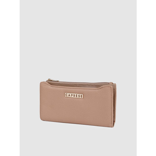 Caprese Women Beige Solid Two Fold Wallet