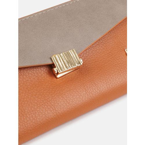Baggit Women Tan Brown & Grey Colourblocked WARDY Three Fold Wallet