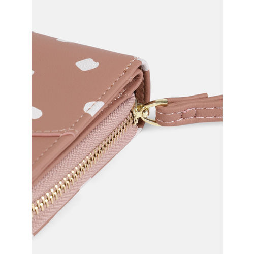 DressBerry Women Mauve Printed Zip Around Wallet