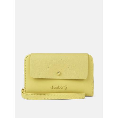DressBerry Women Yellow Solid Zip Around Wallet