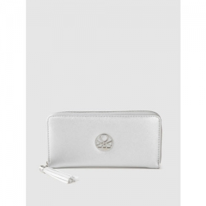 United Colors of Benetton Women Silver-Toned Solid Zip Around Wallet