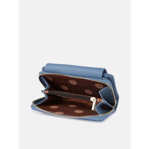 DressBerry Women Blue Solid Two Fold Wallet