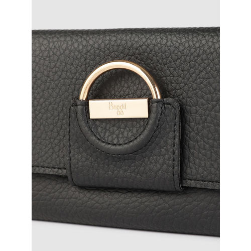 Baggit Women Black Textured Three Fold Wallet
