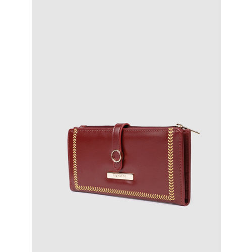 Caprese Women Maroon Solid Two Fold Wallet