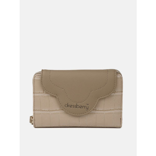 DressBerry Women Beige Croc Textured Two Fold Wallet