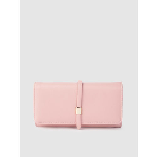 Lino Perros Women Pink Solid Three Fold Wallet