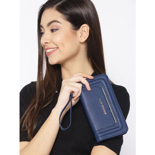 Lino Perros Women Navy Blue Solid Zip Around Wallet