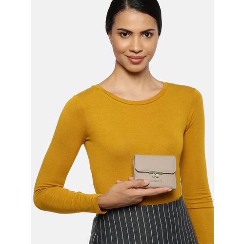 DressBerry Women Beige Solid Three Fold Wallet