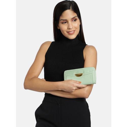 Caprese Women Green Solid Zip Around Wallet