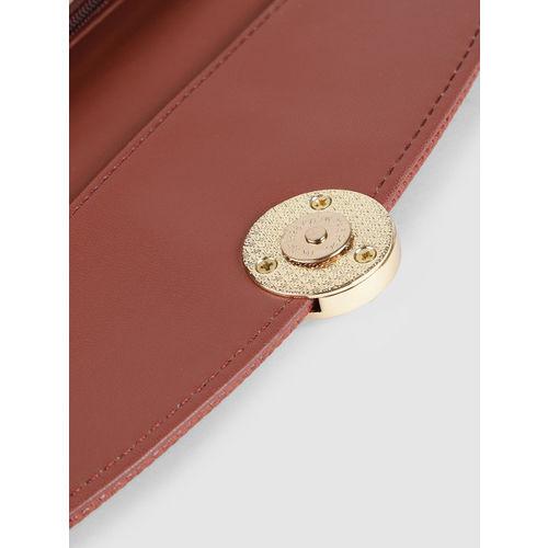 Caprese Women Rust Brown Textured Two Fold Wallet