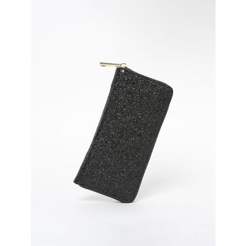 Ginger by Lifestyle Women Black Solid Zip Around Wallet