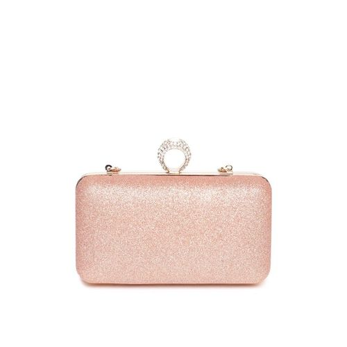 Anouk Rose Gold Solid Shimmer Box Clutch