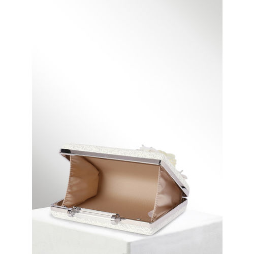 CORSICA White & Silver-Toned Embellished Box Clutch