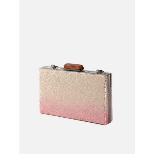 DressBerry Pink & Rose Gold-Toned Glitter Box Clutch