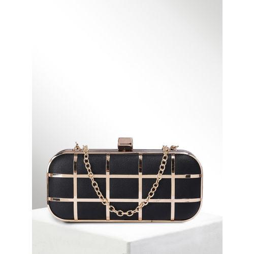 CORSICA Black & Gold-Toned Checked Box Clutch