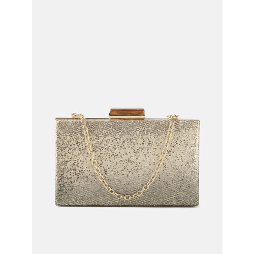 DressBerry Gold-Toned Glitter Box Clutch