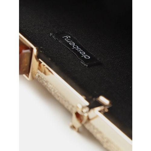 DressBerry Gold-Toned Glitter Box Clutch