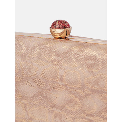 Anouk Rose Gold Snake Print Clutch