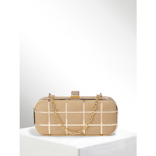 CORSICA Beige & Gold-Toned Checked Box Clutch