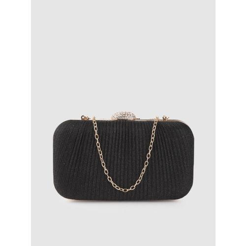 Anouk Black Shimmer Striped Box Clutch