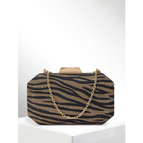 CORSICA Black & Gold-Toned Printed Box Clutch