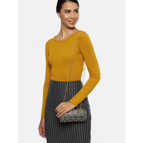 CORSICA Grey & Gold-Toned Checked Clutch
